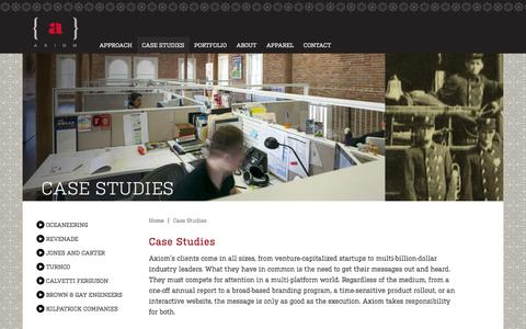 Screenshot of Case Studies Page axiom.us.com - Axiom - Case Studies - Houston, TX Marketing and Design for Startups to Industry Leaders - captured Dec. 27, 2015