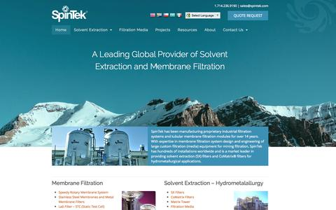 Screenshot of Home Page spintek.com - Membrane Filtration | Solvent Extraction | Coalescer | Filtration Media | Spintek Filtration - captured Oct. 7, 2014
