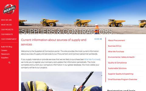 Welcome to the Supplier & Contractors Portal  - Bechtel