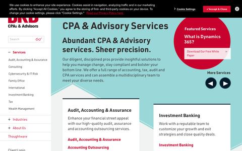 Screenshot of Services Page bkd.com - Business Accounting, Tax & Audit Services | CPA & Advisory Services - captured July 27, 2019