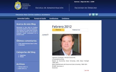 Screenshot of Blog academicsca.com - el Blog   Pontificia Universidad Católica de Chile - captured Feb. 4, 2016