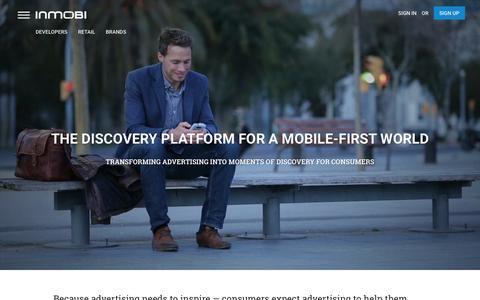 Screenshot of Home Page inmobi.com - InMobi | Mobile Discovery Commerce | Monetization | Advertising - captured Feb. 21, 2016