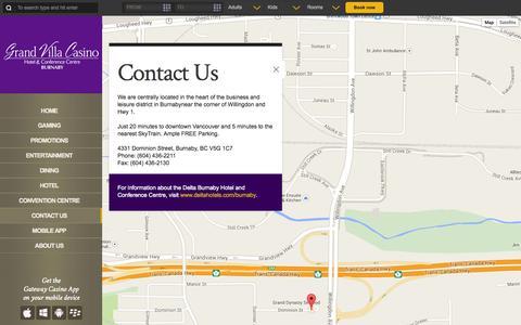 Screenshot of Contact Page grandvillacasino.com - Contact Us | Grand Villa Casino - captured Sept. 30, 2014