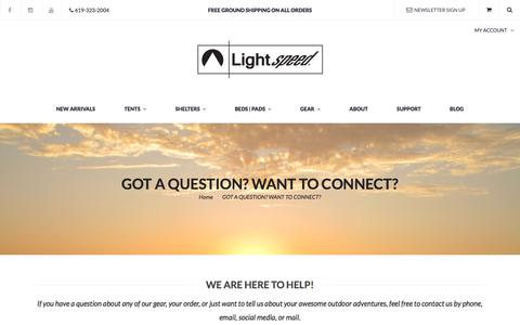 Screenshot of Support Page lightspeedoutdoors.com - Lightspeed Support | Lightspeed Outdoors - captured July 14, 2018