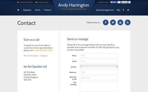 Screenshot of Contact Page andyharrington.com - Contact | Andy Harrington - captured Nov. 2, 2014