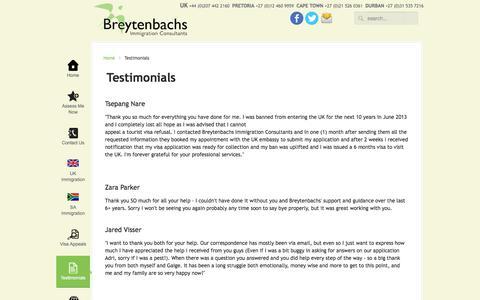 Screenshot of Testimonials Page bic-immigration.com - Testimonials - captured Oct. 31, 2014