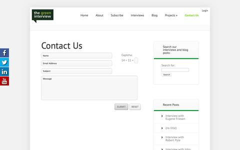 Screenshot of Contact Page thegreeninterview.com - Contact Us - The Green Interview - captured Oct. 20, 2018