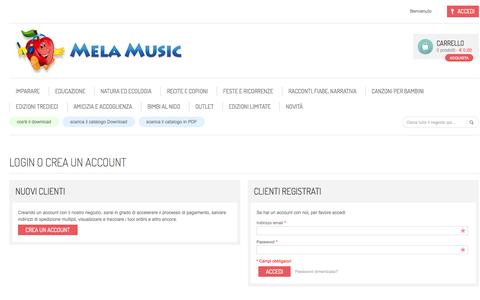 Screenshot of Login Page melamusic.it - Accesso Cliente - captured Oct. 27, 2014