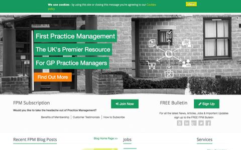 Screenshot of Home Page firstpracticemanagement.co.uk - Info. and Support for GP Practice Managers | First Practice Management - captured Aug. 3, 2015