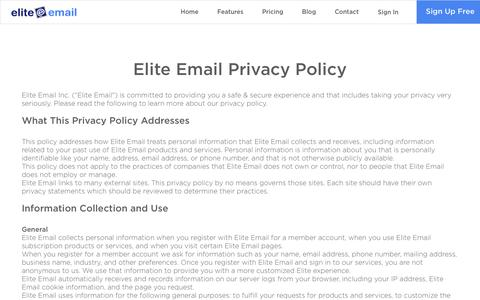 Screenshot of Privacy Page eliteemail.com - Privacy Policy| Elite Email - captured July 13, 2016