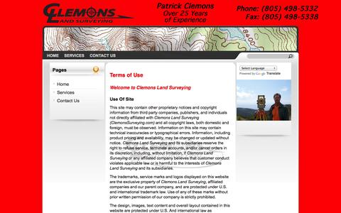 Screenshot of Terms Page clemonssurveying.com - Clemons Land Surveying -   Terms of Use - captured Oct. 2, 2014