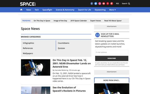 Screenshot of Press Page space.com - Space News 2018 - Latest Space and Astronomy News - captured Feb. 12, 2019