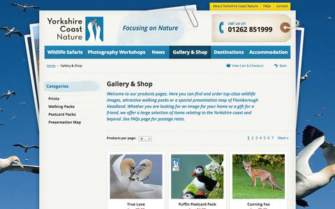 Screenshot of Products Page yorkshirecoastnature.co.uk - Gallery & Shop - Yorkshire Coast Nature - captured Oct. 27, 2014