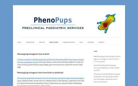 Screenshot of Case Studies Page phenopups.com - Case studies - PhenoPups - captured Oct. 2, 2014