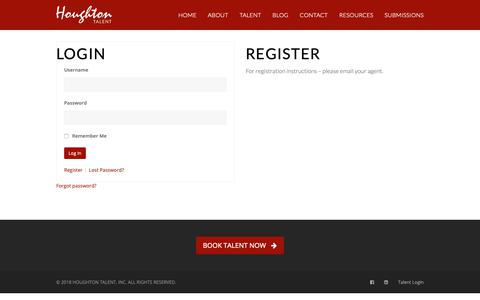Screenshot of Login Page houghtontalent.com - Login - Houghton Talent - captured Sept. 30, 2018