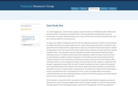Screenshot of Case Studies Page frgroup.net - Financial Resource Group - Case Studies - Case Study One - captured Oct. 5, 2014