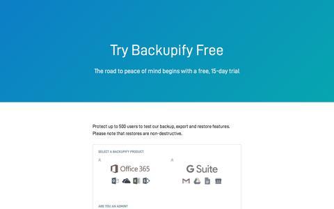 Screenshot of Trial Page backupify.com - Backupify Free Trial Signup - captured Jan. 28, 2018