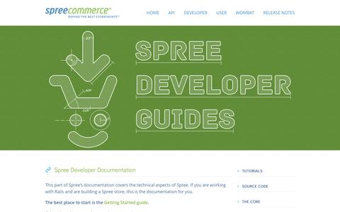 Screenshot of Developers Page spreecommerce.com - Spree Developer Documentation | Spree Commerce - captured Dec. 4, 2015