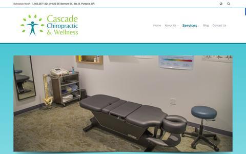 Screenshot of Services Page FAQ Page eastportlandchiropractor.com - Services - Cascade Chiropractic & Wellness - captured Jan. 26, 2016