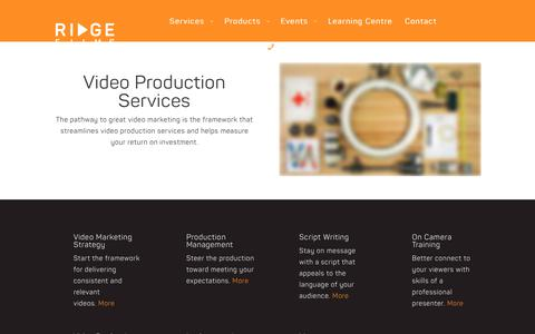 Screenshot of Services Page ridgefilms.com.au - Video Production Services | Ridge Films - captured May 16, 2019