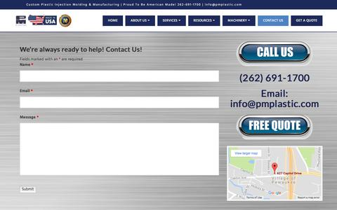Screenshot of Contact Page pmplastic.com - PM Plastics - Contact Us for the Best Plastic Injection Molds & Design - captured July 8, 2017