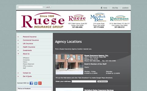Screenshot of Contact Page Locations Page rueseinsurancegroup.com - Ruese Insurance Group - captured Oct. 27, 2014