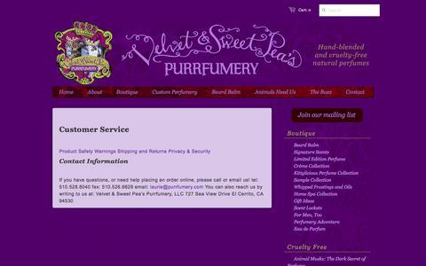 Screenshot of Support Page purrfumery.com - Customer Service – Velvet & Sweet Pea's Purrfumery - captured Oct. 20, 2017