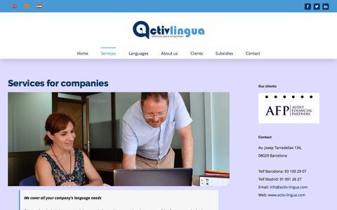 Screenshot of Services Page activ-lingua.com - Servicios para empresas - ActivLingua - captured Nov. 20, 2016