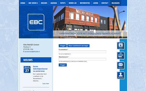 Screenshot of Login Page ebcede.nl - Gebruikersaccount |  Edes Bedrijfs Contact - captured Oct. 1, 2014