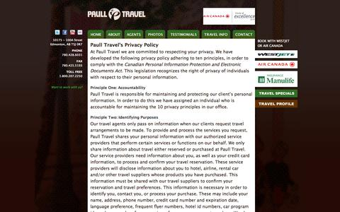 Screenshot of Privacy Page paulltravel.com - Privacy Policy | Paull Travel - captured Sept. 30, 2014