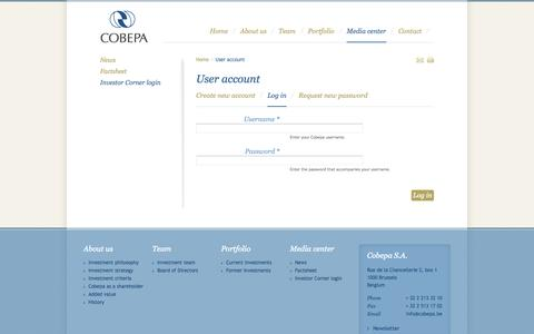Screenshot of Login Page cobepa.be - User account | Cobepa - captured Sept. 30, 2014