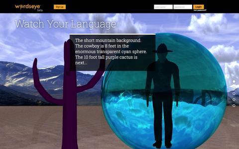 Screenshot of Home Page wordseye.com - WordsEye - captured Dec. 4, 2015