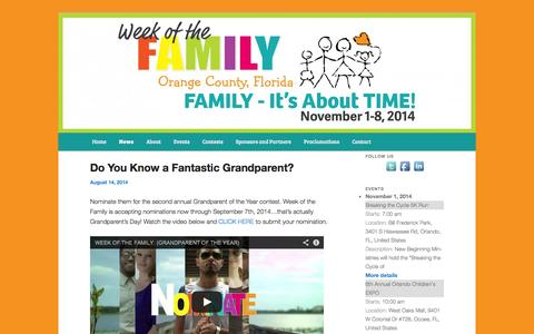 Screenshot of Press Page weekofthefamily.org - News | Week of the Family | Week of the Family's mission is to strengthen family relationships through education, wholesome activities, fitness and community service. - captured Oct. 9, 2014