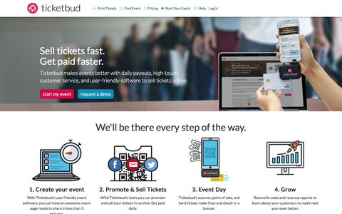 Screenshot of Home Page ticketbud.com - Sell Tickets Online: Event Management and Ticketing | Ticketbud - captured Sept. 13, 2017