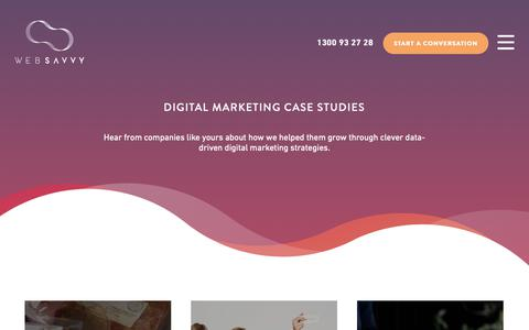 Screenshot of Case Studies Page websavvy.com.au - Digital Marketing Case Studies | WebSavvy - captured Dec. 11, 2018