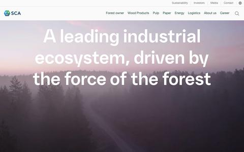Screenshot of About Page sca.com - A leading industrial ecosystem, driven by the force of the forest - SCA - captured June 6, 2018
