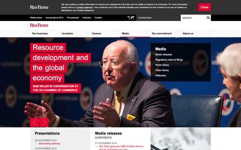 Screenshot of Press Page riotinto.com - Media - Rio Tinto - captured Dec. 1, 2015