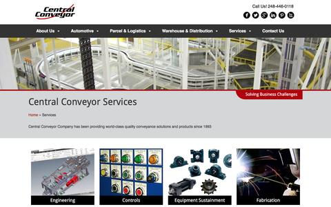 Screenshot of Services Page centralconveyor.com - Services - Central Conveyor - captured Oct. 31, 2016