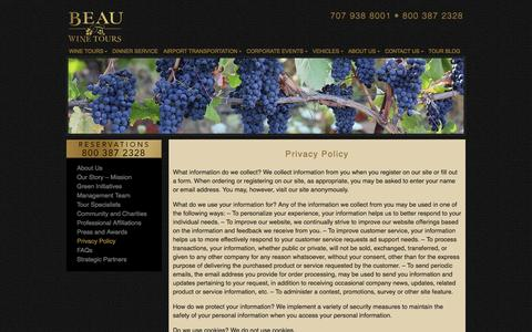 Screenshot of Privacy Page beauwinetours.com - Privacy Policy - Beau Wine Tours & Limousine Service - captured Sept. 19, 2014