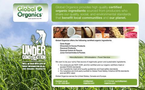 Screenshot of Home Page global-organics.com - Global Organics Ltd. Home - captured Oct. 3, 2014