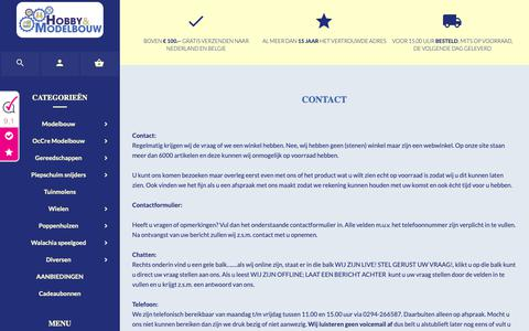 Screenshot of Contact Page hobby-en-modelbouw.nl - Contact opnemen  	              -          www.hobby-en-modelbouw.nl - captured Sept. 27, 2018