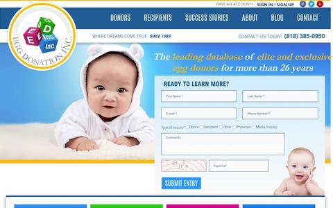 Screenshot of Home Page eggdonor.com - Egg Donation, Inc. | Egg Donors | Egg Donation Database | Egg Donors | California Egg Donation | Los Angeles Egg Donation - captured Sept. 5, 2016