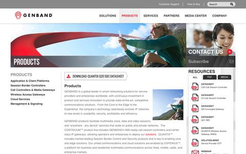 Screenshot of Products Page genband.com - GENBAND Products | Multimedia Voice, Data & Video Sessions, IMS, Session Border Control - captured June 17, 2015