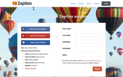 Screenshot of Signup Page zaption.com - Zaption - captured Oct. 27, 2014