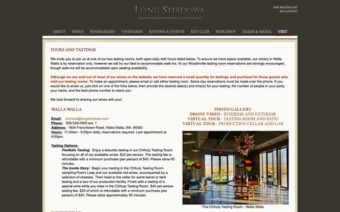 Screenshot of Hours Page longshadows.com - Long Shadows Vintners - Contact Us - Walla Walla - Woodinville - The Library - captured Sept. 30, 2018