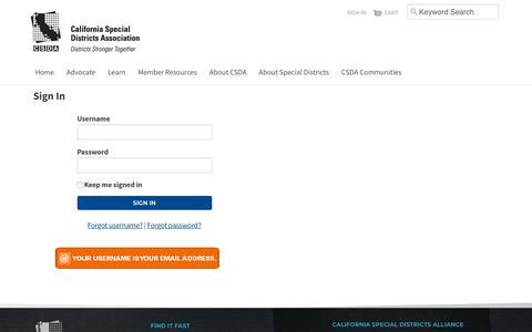 Screenshot of Login Page csda.net - Sign In - captured Sept. 26, 2018