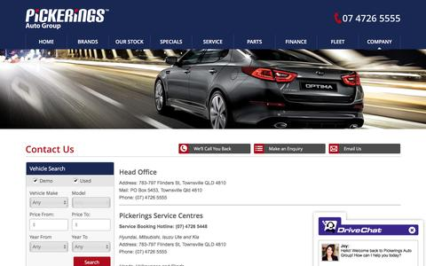 Screenshot of Contact Page pickerings.com.au - Pickerings Auto Group Townsville - Save on new and used cars - Pickerings Auto Group - captured Nov. 6, 2016