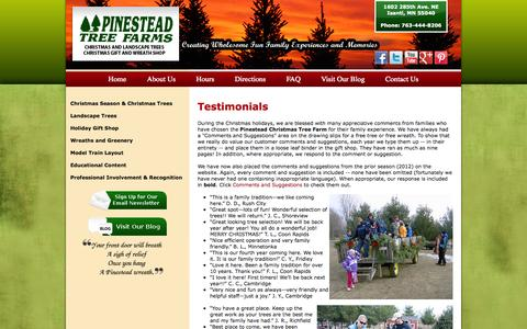 Screenshot of Testimonials Page pinesteadchristmastrees.com - Testimonials - captured Oct. 2, 2014