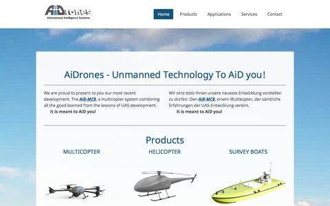 Screenshot of Home Page aidrones.de - AiDrones - AiDrones GmbH - Innovation in Unmanned System Technologies - captured Sept. 30, 2014