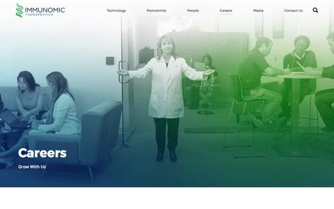 Screenshot of Jobs Page immunomix.com - Careers – Immunomic Therapeutics - captured Oct. 14, 2017